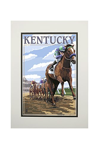 Kentucky, Horse Racing Track Scene 41637 (11x14 Double-Matted Art Print, Wall Decor Ready to Frame)