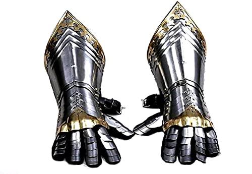 Ritter Mittelalterliche Handschuhe vollständig tragbar LARP Armor Gloves Bracers Silber