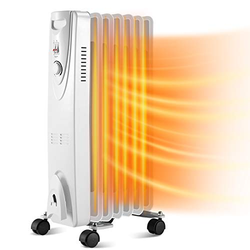 Kismile 1500W Oil Filled Radiator Heater with Adjustable Thermostat