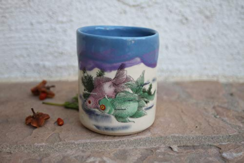Blue and Purple Koi Fish Clay Cup, Handmade Artisan Kitchen Pottery Teacup