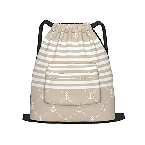 BohoMonos Mochila deportiva con cordón,Ancla con estilo, Gym Sackpack para Hombres Mujeres Niños Yoga Travel Camping String Bag.