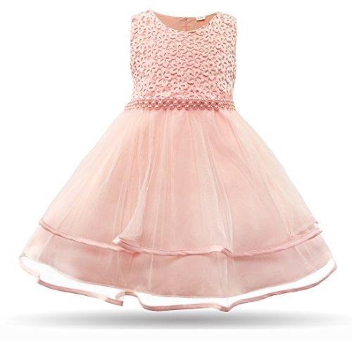 CIELARKO Baby Mädchen Kleid Blumen Spitze Tüll Taufkleid Kinder Hochzeits Festlich Kleider, Rosa, 7-12 Monate