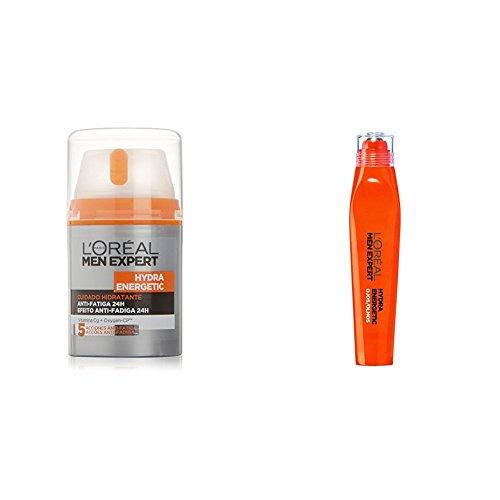 L'Oreal Paris Men Expert Gel Ultra Hidratante Anti-Fatiga Hydra Energetic - 50 ml y Roll-on Ojos