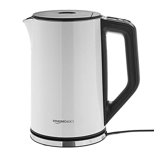 AmazonBasics Stainless Steel Kettle with Temperature Control, 1.5L, White
