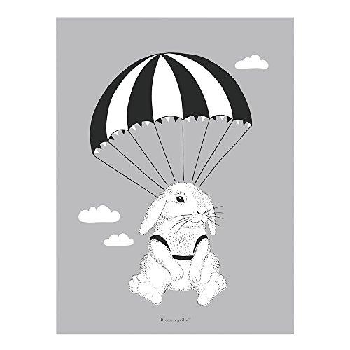 Bloomingville Bild Poster Hase mit Fallschirm Mini Serie