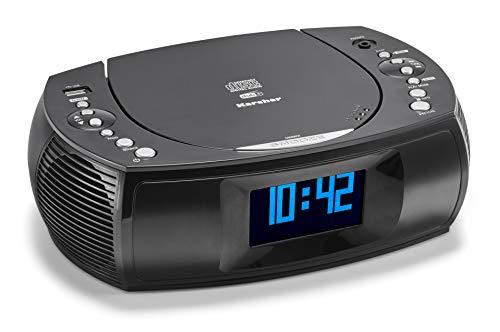 Karcher UR 1309D Radiowecker mit MP3 / CD Player und DAB+ / UKW Radio (je 20 Senderspeicher) – Wecker mit Dual-Alarm, USB-Charger & Batterie Backup Funktion