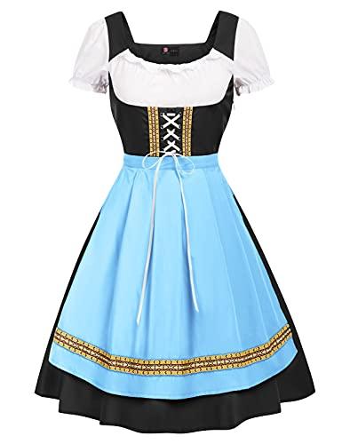 KANCY KOLE Women's German Dirndl Dress Authentic Short Sleeve Oktoberfest Beer Costume (2XL,Blue#Black)