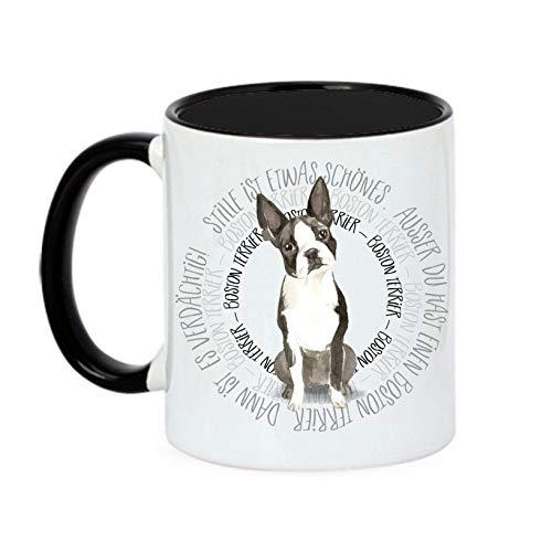 Siviwonder Tasse Circle - Boston Terrier - Watercolor Dogs Hundemotiv Fun Kaffeebecher