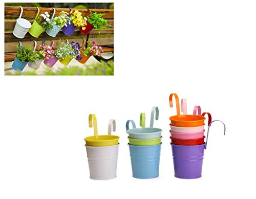 Dipamkar® Set of 10 Metal Hanging Pots Hanging Plant/Flower Pots With Drainage Hole Flower Bucket Balcony Fence Garden Home Ornaments (10)