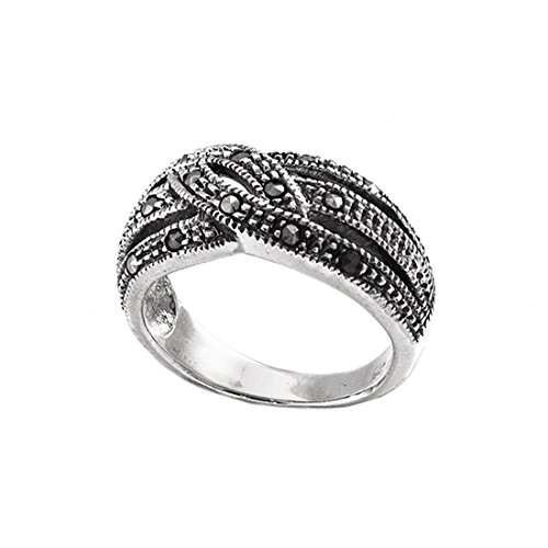 Silverly Damen Sterling Silber .925 Markasit Schweizer Weit Vierzehn Stones Ring, Größe: 60 (19.1)