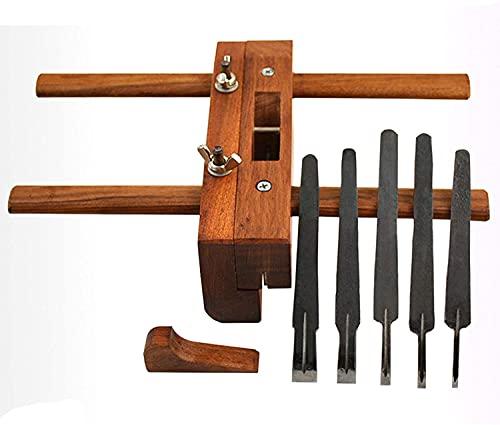 Cepilladora de madera-cepilladora manual, arado DIY ranura de plano ranurado plano de madera hombro plano de mano ajustable para carpintero tallador de madera con 5 hojas cepilladoras