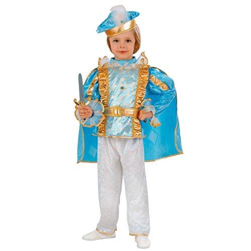 NET TOYS Charming Prinz Kostüm König Kinderkostüm 98 cm Blaues Prinzenkostüm Edler Märchenprinz Jungenkostüm Prince Kind Faschingskostüm Edelmann Märchenkostüm Junge