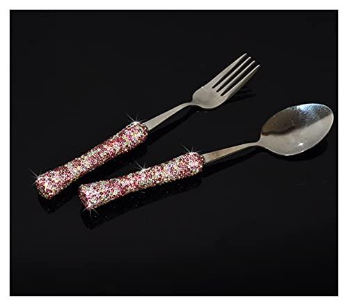Takagawa HHH Cuchara y Tenedor de Diamante Brillante 304 Forks de Acero Inoxidable de Acero Inoxidable Eco Friendly Cutlery Set Vajilla Plato de vajillas Conjunto de vajilla HHH (Color : Pink)
