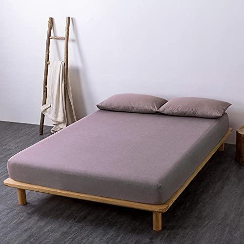 GuLL Sábana bajera ajustable, 100% algodón, para colchón de hasta 30 cm de altura, 180 x 200 cm, color marrón