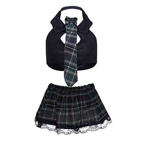 Bfmyxgs Mode Sexy Frauen Dessous Uniform Weste Gitter Minirock Krawatte Set Clubwear