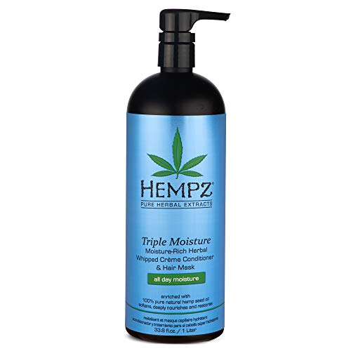 Hempz Triple Moisture-Rich Herbal Whipped Creme Conditioner and Hair Mask for Women and Men, 33.8 oz. – Premium, Natural…