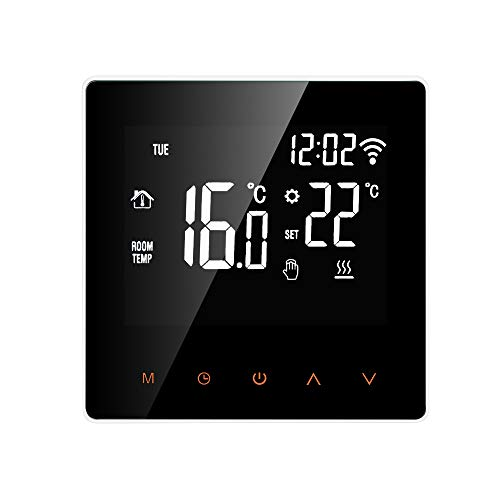 Smart Thermostat Digital Wi-Fi Raumthermostat programmierbar LCD Display Touchscreen APP Control Elektrische Wandthermostat mit Interner Sensor/Bodensensor, Kindersicherung, Speicherfunktion, 16A