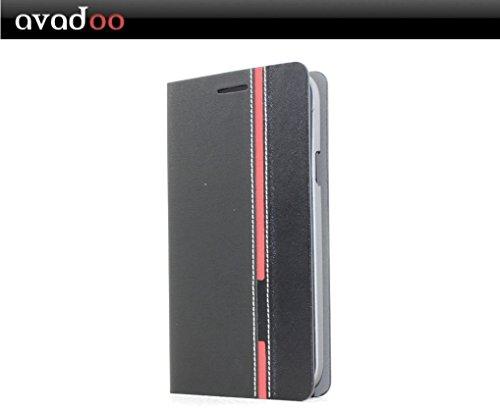 avadoo® Wiko Darkside Flip Case Cover in Schwarz-Rot als Cover Tasche Hülle