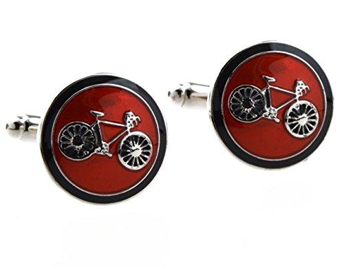 Covink® Fahrrad Manschettenknöpfe Radfahren Radfahren Symbol Runde Manschettenknopf Set Manschettenknöpfe Manschettenknöpfe Ein Paar (Rot)