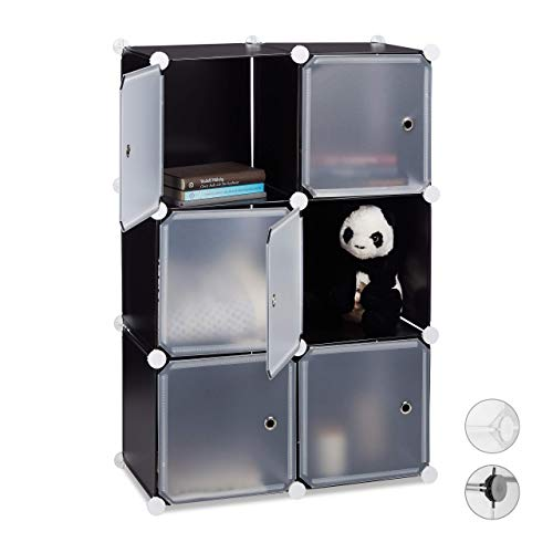 Relaxdays Estantería Modular Cubo con 6 Compartimentos, Negro, 97.5 x 66 x 32 cm