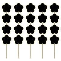 rosenice 20個花の形の木製ミニ黒板メッセージボードのために署名植物ラベルメッセージボード看板食品タグ看板結婚式のパーティーの好意