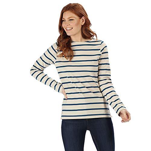 Regatta T- Shirt Lifestyle Manches Longues FLORDELIS 100% Coton Coolweave avec imprimé sur l'ensemble Femme, Light Vanilla/Blue Opal, FR : XS (Taille Fabricant : 38)