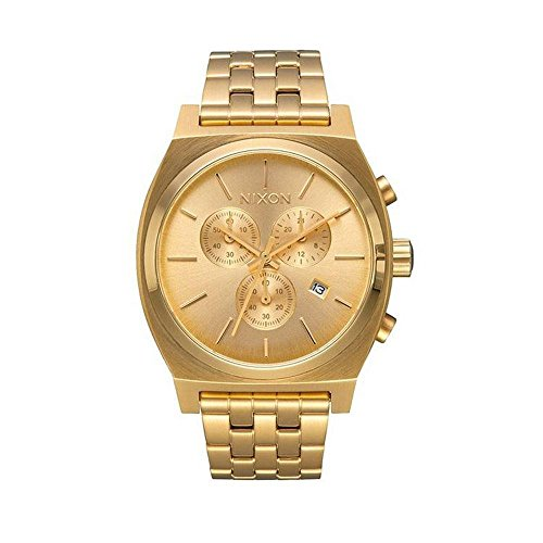 Nixon Time Teller Chrono Herrenuhr Analog Quarz mit Edelstahl Armband All Gold