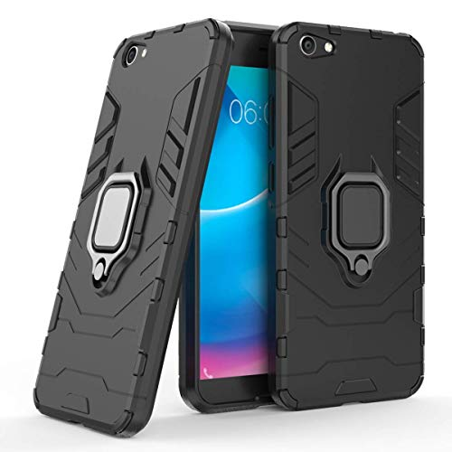 LuluMain Compatible with VIVO V5 Lite (vivo 1609), VIVO Y66 Case, Metal Ring Grip Kickstand Shockproof Hard Bumper (Works with Magnetic Car Mount) Dual Layer Rugged Cover (Black)