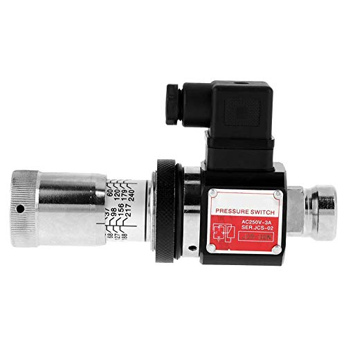 KAIBINY Valve Hydraulic Pressure Relay, AC 250V 3A 30-210kg/cm² PT1/4' Straight Through Tube Hydraulic Pressure Relay Switch Valve for Pneumatic Hydraulic Oil System