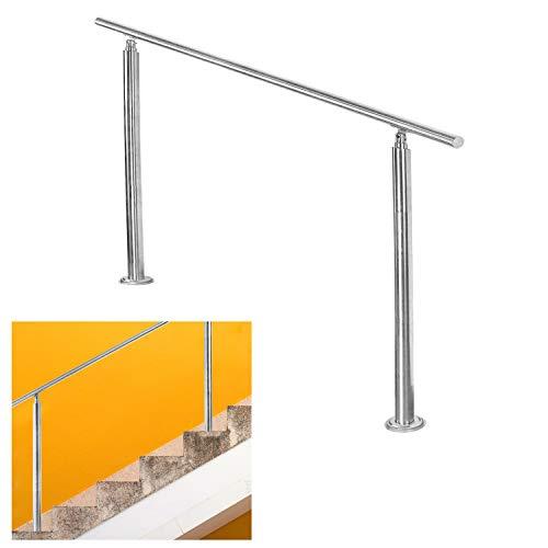 VINGO Edelstahl Handlauf Geländer für Balkon Brüstung Treppen mit/ohne Querstreben (100cm, ohne Querstreben)
