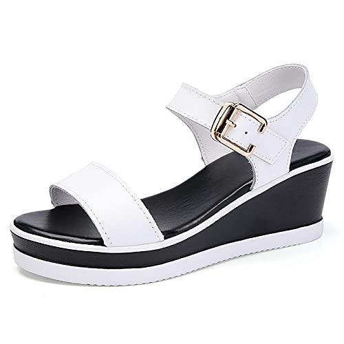 FAYHRH Sandalias de Talón Abierto Mujer,Sandalias de tacón de cuña, Zapatos de Plataforma de Plataforma de tacón Medio de Verano para Mujer-White_38