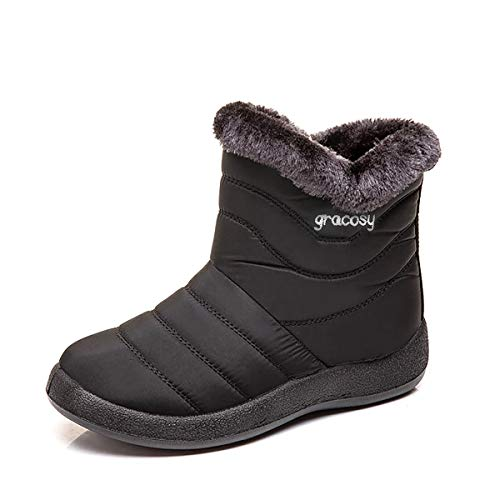 gracosy Snow Boots for Women, Warm Ankle Bootie Waterproof Outdoor Snow Anit-Slip Boots Slip On Lined Winter Shoes for Ladies Black 7.5