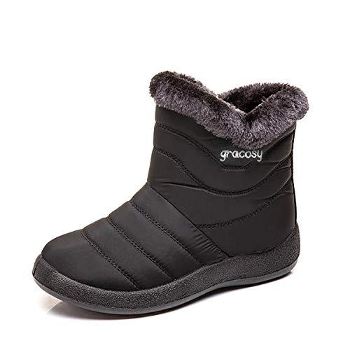 gracosy Schneestiefel für Damen, warme Stiefelette, wasserdicht, rutschfest, Schwarz (schwarz), 40 EU