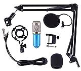 YYZLG Kit de micrófono de suspensión Profesional Micrófono de Condensador Teléfono móvil Micrófono Micrófono Equipo de transmisión Directa por computadora-Blue