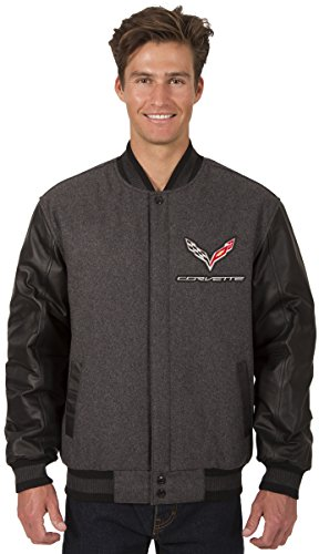 Mens Chevy Corvette Wool & Leather Reversible Jacket with Embroidered Emblems (2X, Charcoal Gray-Black)
