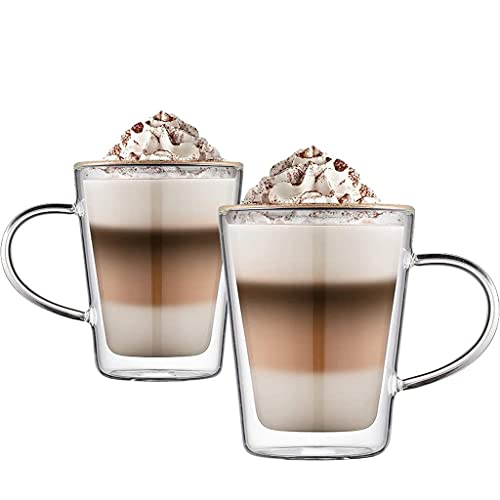 Tazas de café Tazas De Vidrio De Café De Doble Pared Vasos De Té con Asa Vidrio Aislado para Café, Té, Espresso, Capuchino, Latte, Cerveza (Capacity : 400ml, Quantities : 2)