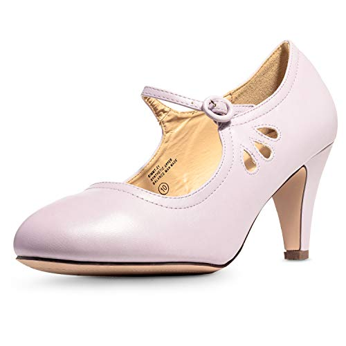 Chase & Chloe Kimmy-21 Women's Round Toe Pierced Mid Heel Mary Jane Style Dress Pumps (10 B(M) US, Lavender Pu)