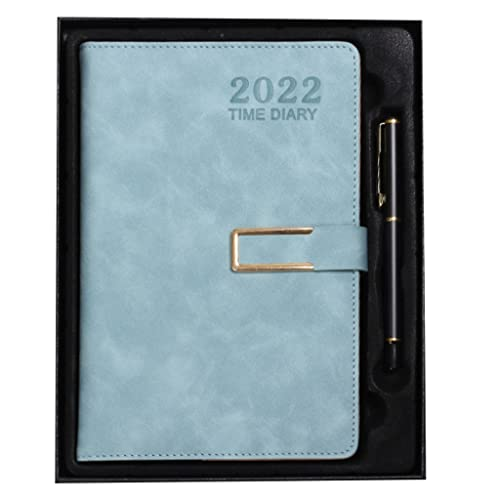 2022 Planner- Weekly& Monthly Planner Appointment Book Professional Annual Week Schedule Calendar 5.9″x8.6″ 12 Months(A5) (Color : Blue)