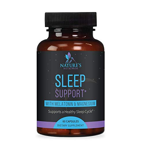 Sleep Support Supplement Extra Strength Melatonin 10 mg Formula - Natural Rest and Relaxation - Made in USA - Best Calming Complex with Magnesium, Chamomile, L-Theanine, Passion Flower - 60 Capsules