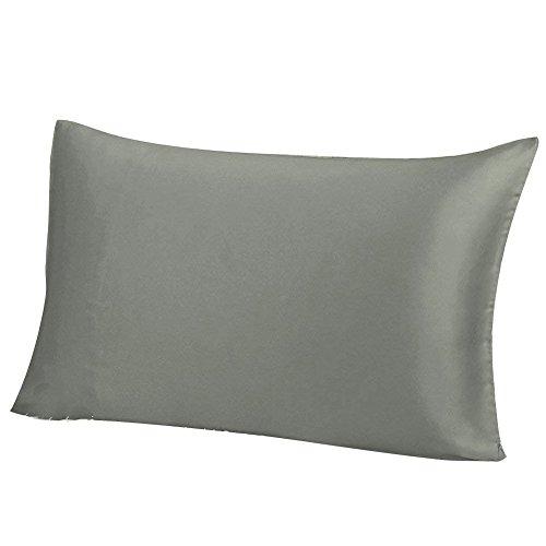 THXSILK 100% 19 Momme Seide Kissenbezug Kissenhülle mit Reißverschluss - Seide Kissen Bezug - Super Weich und Glatt Seide Kopfkissenbezug (40x80cm, Grau)