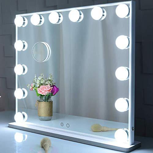 XIAOQIAO Espejo de Maquillaje Hollywood con Luces LED Espejo de Tocador de Mesa con Lupa Enchufe Incorporado Lateral