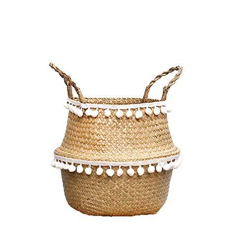 Szetosy - Cesta de junco para almacenamiento de Goodchance UK, con pompones. Cesta plegable tejida y con asa para ropa, juguetes, plantas o para usar en el cuarto del bebé, Estilo#5, 36x32cm