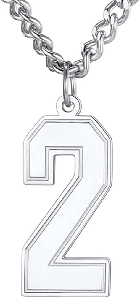 Stainless Steel Sports Soccer Basketball Number 0-9 Pendant Necklace