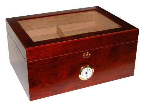 Quality Importers Milano Glasstop Humidor Spanish Cedar Tray With Divider, Holds 75-100 Cigars, Rosewood