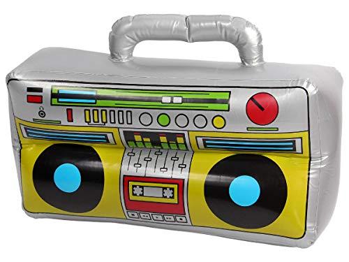 Alsino Ghettoblaster aufblasbar 80er Boom Box - Maße: 40 x 20 - Oldschool Hip Hop Rapper Kostüm Kleidung Outfit Verkleidung Accessoire Sangria Eimer Walkman