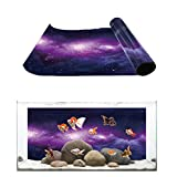 Aquarium Background Purple Outer Space Galaxy Starry Sky Fish Tank Wallpaper Easy to Apply and Remove PVC Sticker Pictures Poster Background Decoration 12.4' x 30.4'