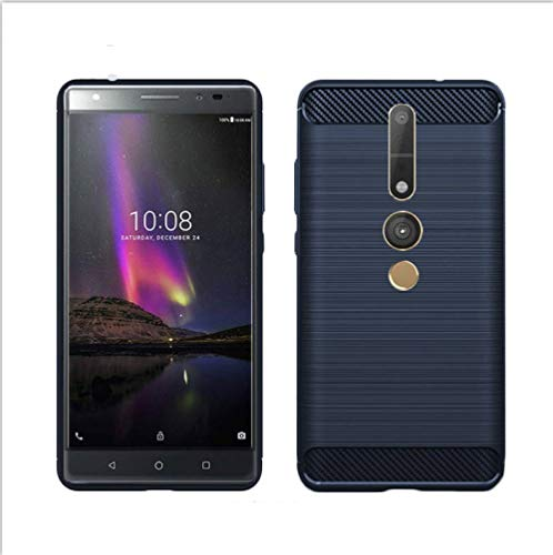 König Design Handy-Hülle kompatibel mit Lenovo Phab2 Pro Silikon Case Hülle Sturzsichere Back-Cover Handyhülle - Carbon - Blau