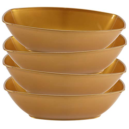 Set of 4 -Luau Plastic Contoured Serving Bowls, Party Snack or Salad Bowl, 80-Ounce, Gold