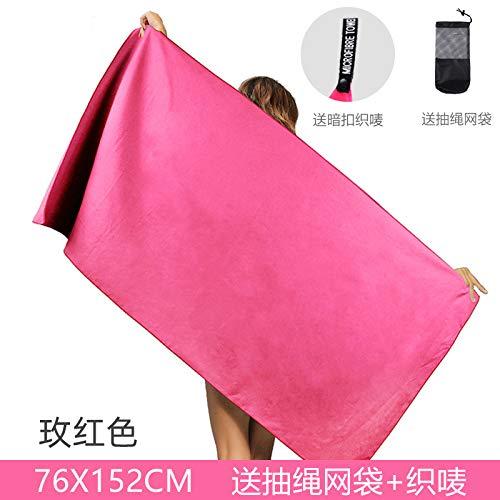 MKHB Toalla de Playa Impresa de Secado rápido de Terciopelo de Doble Cara Toalla de Playa de Microfibra para Adultos 160 * 80 cm Rosa Rojo