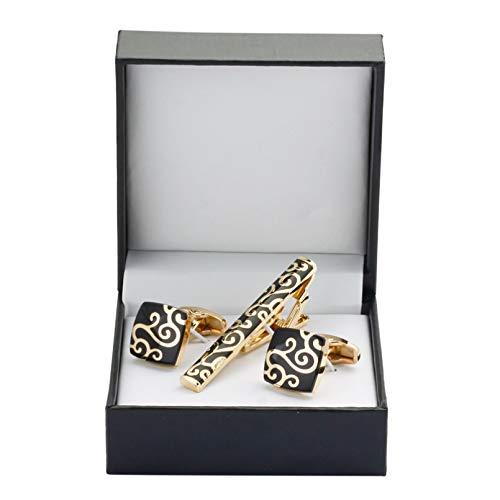 Owenqian Krawattenklammer Geschenk, Dekoration Accessoires Manschettenknöpfe Krawattenklammer für Krawattennadel für Herren Geschenk Goldwolke Krawattenhalter Manschettenknöpfe Krawattenklammer Set